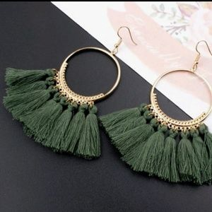 Jewelry - 5 for $25 Gold Hoop Green Tassel Fringe Earrings